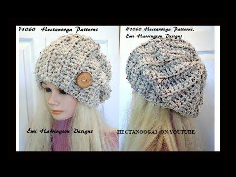 Free Crochet pattern- Beginner UNISEX SLOUCHY HAT , adult size .