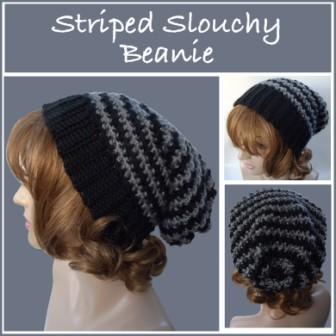 Striped Slouchy Beanie ~ FREE Crochet Patte