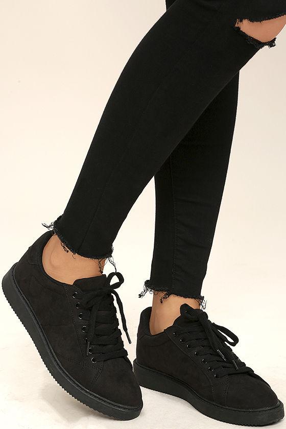 Cool Black Sneakers - Vegan Suede Sneakers - Skate Shoes - $36.