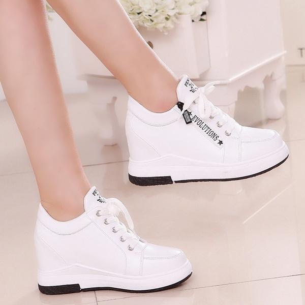 Woman''s Fashion Sneaker Wedges Heel Shoes Girls Hidden Heel .