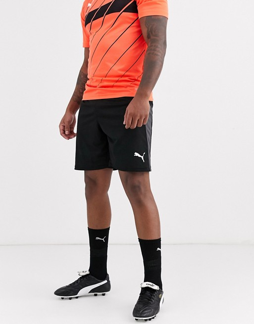 Puma Soccer shorts in black with gray side stripe | AS