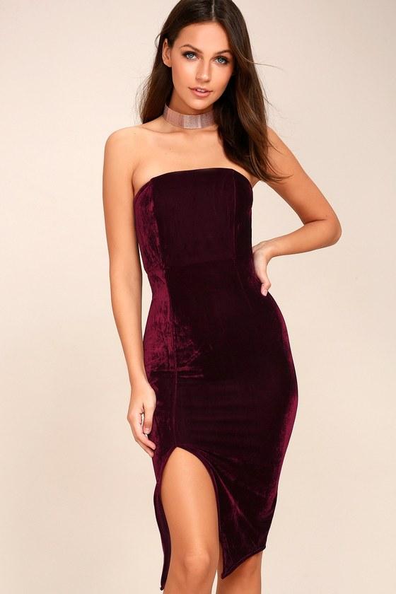 Sexy Burgundy Dress - Bodycon Dress - Strapless Dre
