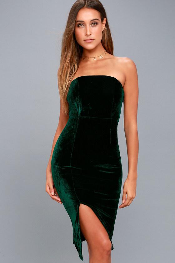 Sexy Forest Green Dress - Bodycon Dress - Strapless Dre