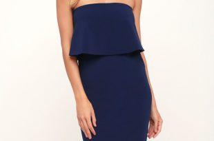 Cute Blue Dress - Blue Strapless Dress - Blue Midi Dre