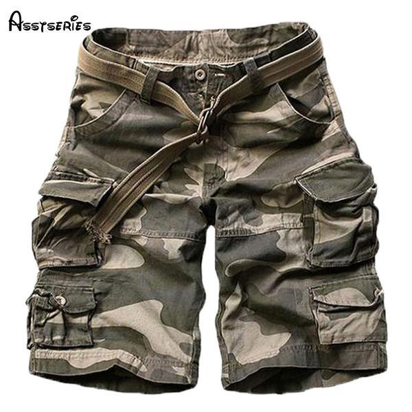 2018 New Summer mens casual army camo cargo shorts cotton Short .