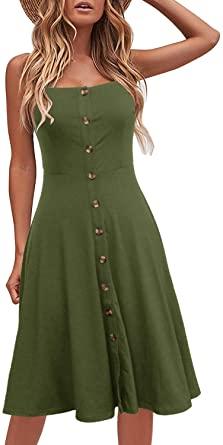Berydress Women's Casual Beach Summer Dresses Solid Cotton .