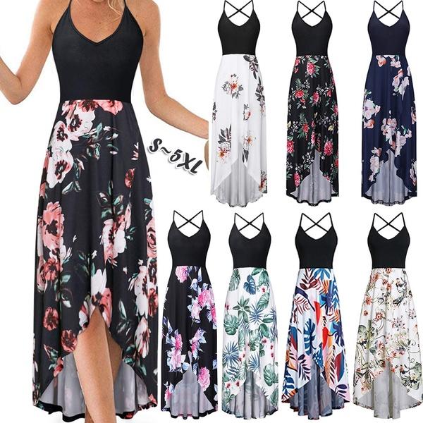 NEW Women Summer Floral Printed Sleeveless Dress Sling Dress V .
