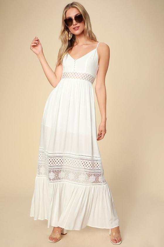 BB Dakota Kaia - White Maxi Dress - Sleeveless Lace Maxi Dre