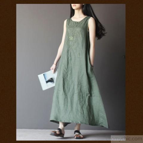 Top quality linen summer maxi dresses A line linen traveling clothi