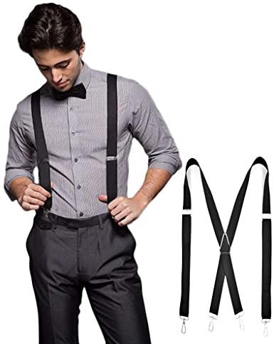 Amazon.com: Suspenders for Men, Shirt Suspenders - Black X Back .