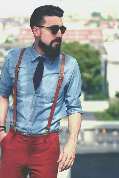 Leather Suspenders for Men, Wedding Groomsmen Suspenders with Hook .