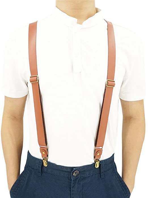 1 Inch Wide Suspenders for men, Soft Cattlehide Split Cow Leather .