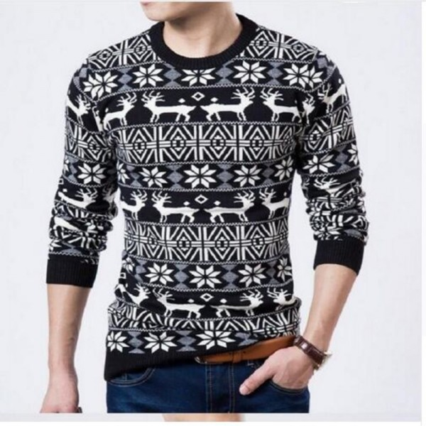Buy Mens Christmas Sweater Deer Printed Sweater For Men Pullovers .