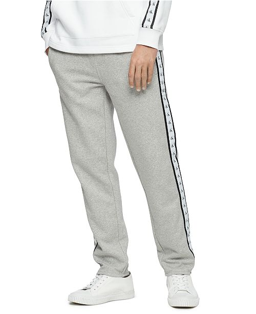 Calvin Klein Jeans Men's Logo-Stripe Fleece Sweatpants .