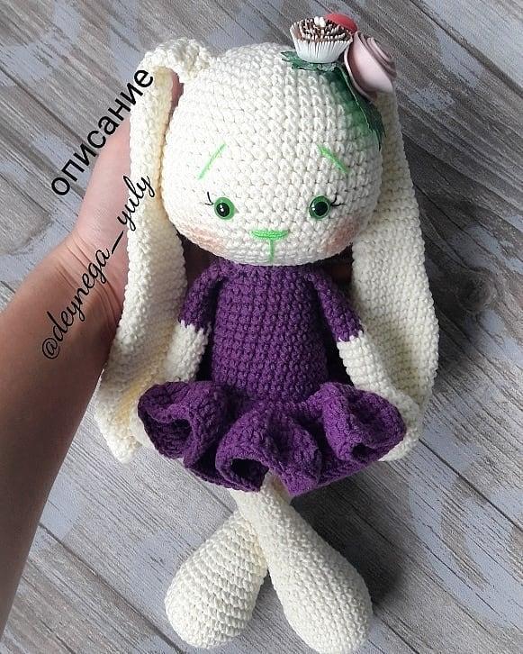 Sweet bunny amigurumi in dress pattern | Amiguroom To