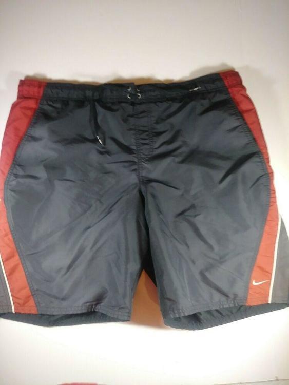 Nike Vintage Men Black/Red Light Weight Water Swim Trunks Shorts .