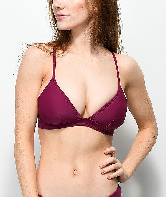Trillium South Beach Burgundy Triangle Bikini Top | Zumi