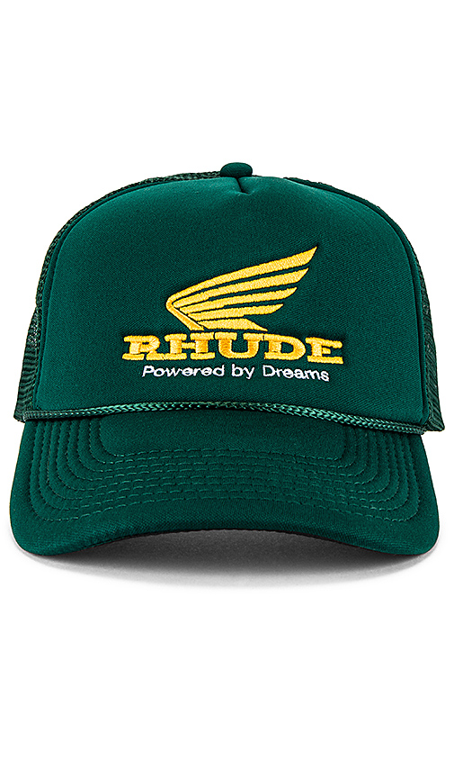 Rhude Rhonda Trucker Cap in Green & Yellow | REVOL