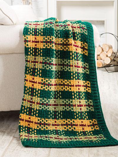 Tunisian Crochet Patterns - Woodland Plaid Tunisian Throw Crochet .
