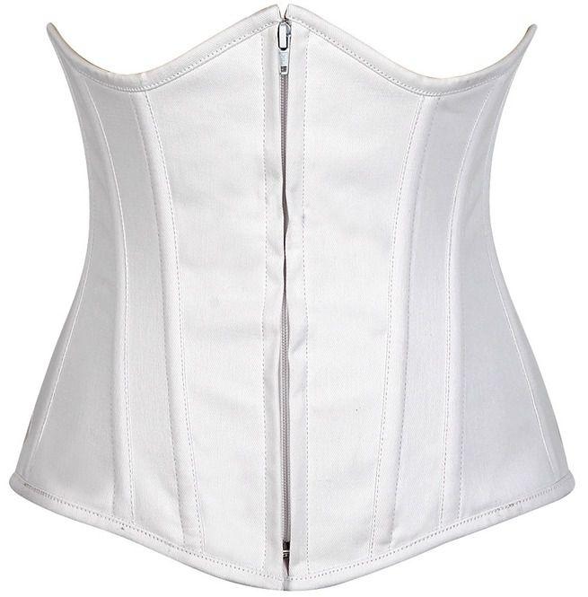 Lavish White Cotton Underbust Corset | RebelsMark