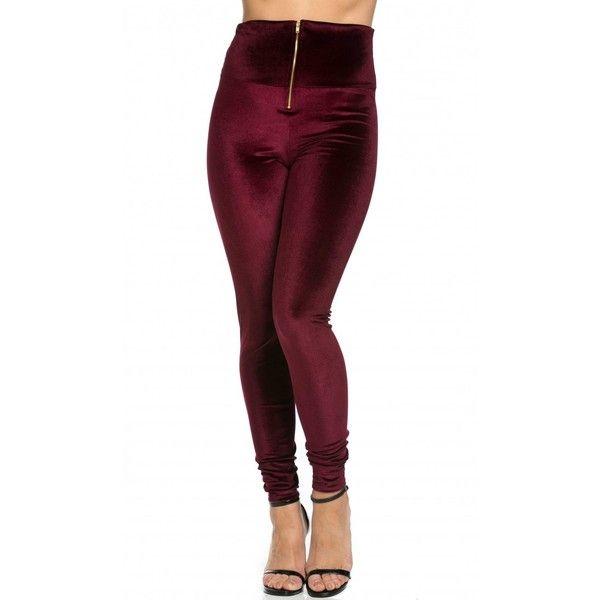 Velvet High Waisted Zipped Up Leggings in Burgundy ($22) ❤ liked .