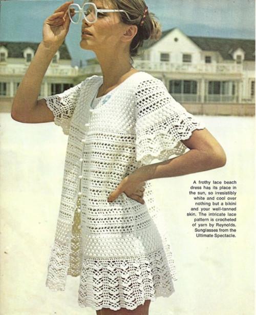Misses Lace Beach Dress, Cover Up Vintage Crochet Pattern PDF W227 .