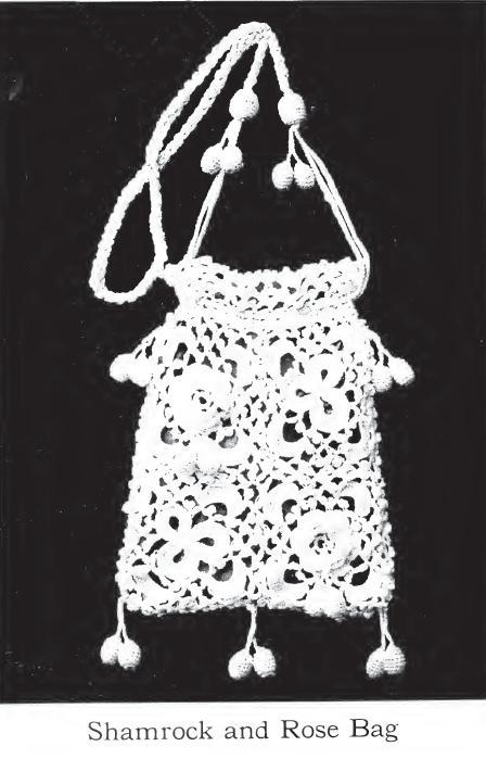 Vintage Crochet Bag Patterns – A Shamrock and Rose Bag .