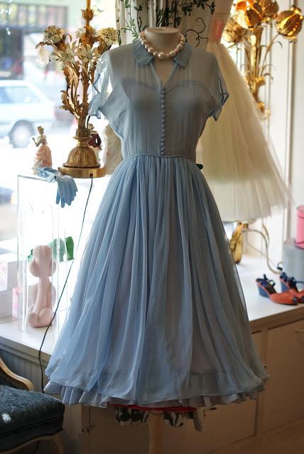 Elegant A-Line Doll Collar Short Sleeves Blue Chiffon Vintage .