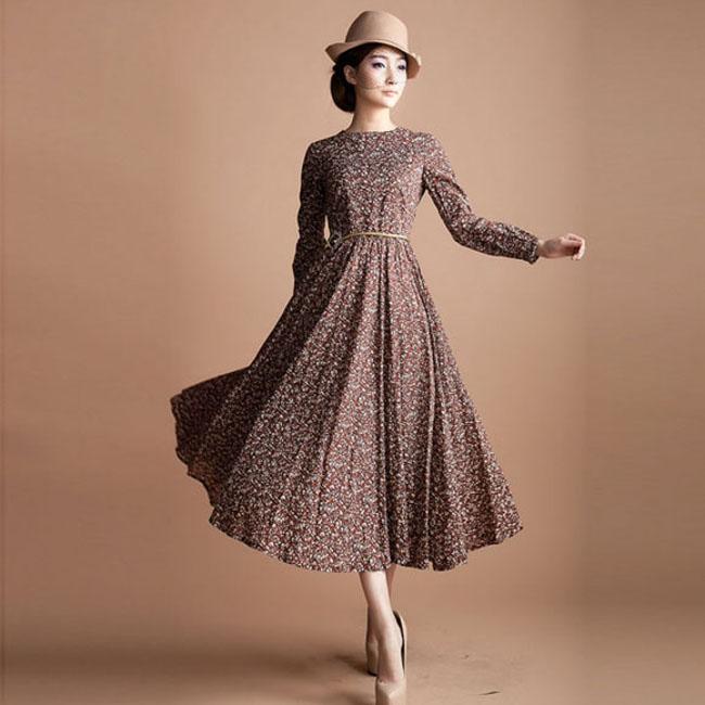long vintage style dress