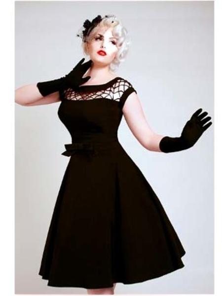 Bettie Page 50s Inspired Black Fishnet Top Alika Swing Dress .