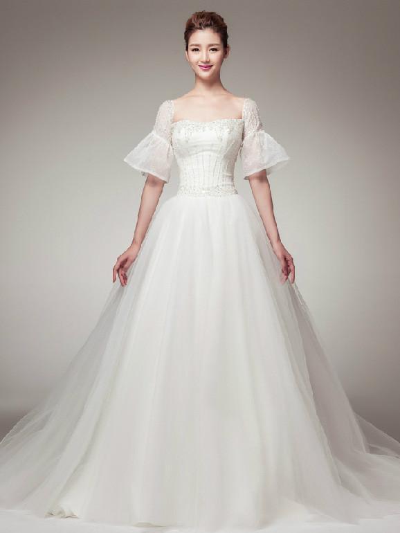 Edwardian Vintage Princess Style Wedding Dress with Sleeves – JoJo .