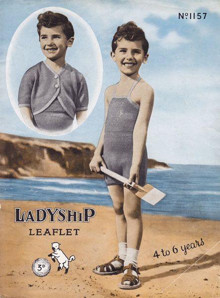 Vintage swim suit sun suit knitting pattern for boys child .