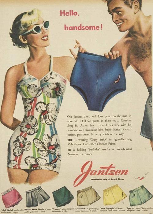 Jantzen Swimwear for Men vintage bathing suit ad, 1950 vintage .