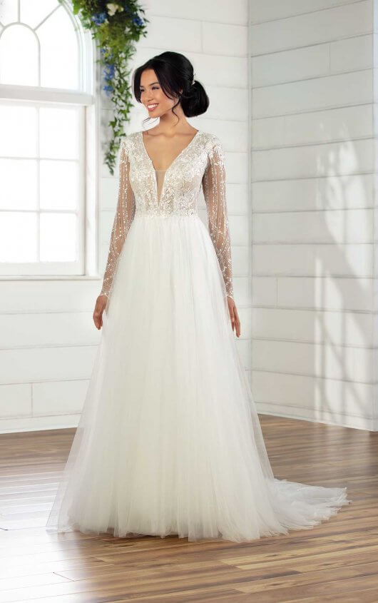 Glamorous Wedding Gown with Sparkling Sleeves - Essense of Austral
