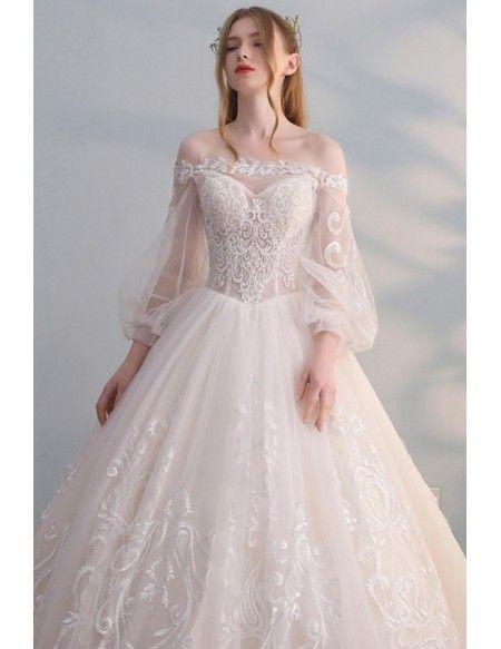 Gorgeous Off Shoulder Unique Lace Ballgown Wedding Dress with .