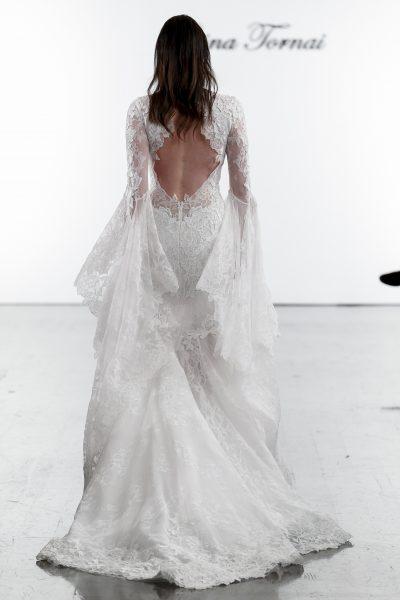 Long Sleeve V-neck Mermaid Wedding Dress With Bell Sleeves .