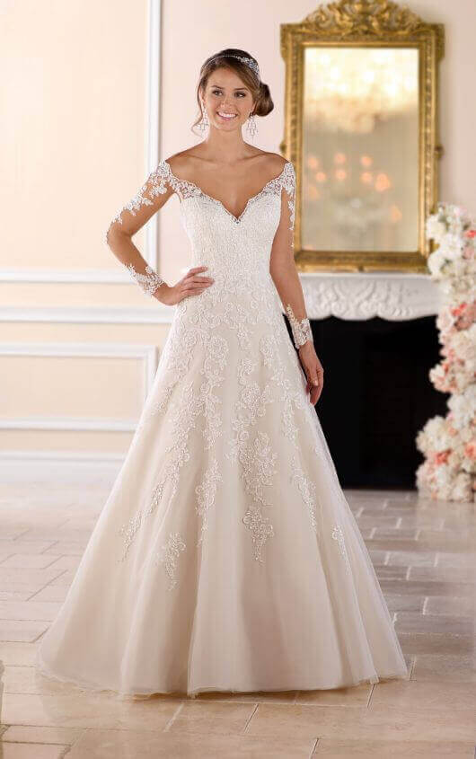 Off the Shoulder Lace Wedding Dress with Sleeves | Stella York .