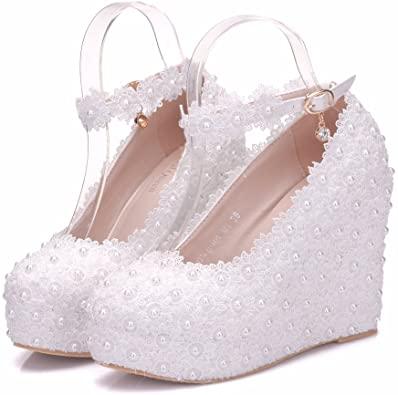 Amazon.com   White Lace Wedding Shoes Wedges Heels Platform Wedges .