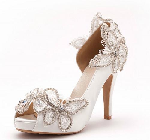 5cm heels Peep toe Wedding Shoes,Bridal Shoes,Lace Wedding Pumps .