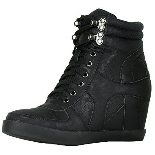 Black Wedge Sneakers: Amazon.c