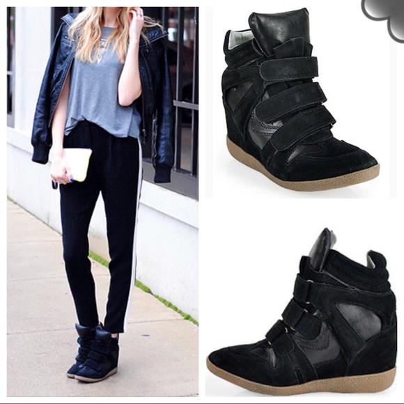 Steve Madden Shoes | Hilight Wedge Sneaker In Black Suede | Poshma
