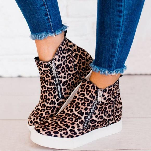 Soda Shoes | Last Sz6 Leopard Side Zipper Wedge Sneaker Booties .