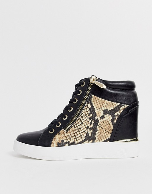 ALDO Ailanna wedge sneaker in natural snake | AS