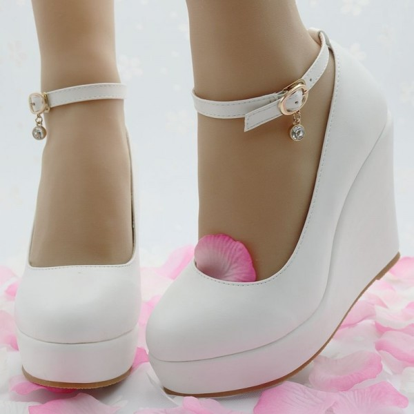Buy White Wedges Shoes Pumps For Women Wedges High Heels Wedges .