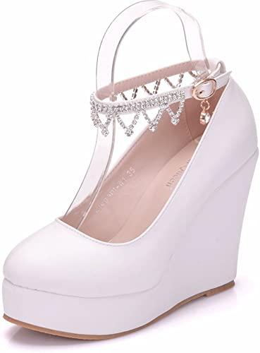 Amazon.com | Women Diamond Wedges Pumps Heels Strap Platform .