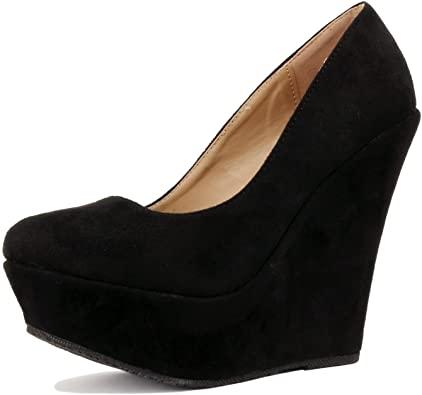 Amazon.com | Delicacy Trendy-33 Slip On Platform High Heel Wedge .