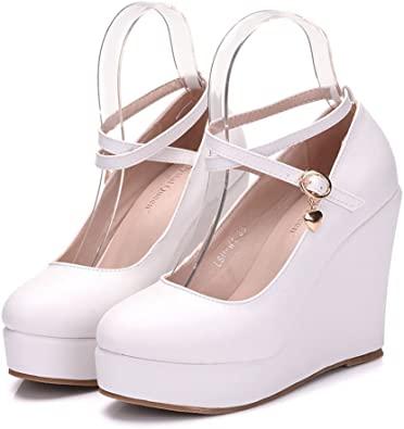 Amazon.com | Women Wedges Heels Platform Wedges Pumps White Wedges .