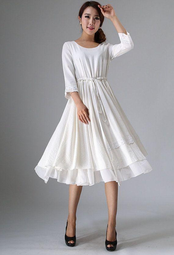 White dress, little white dress, tea length dress, midi dress .