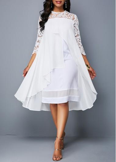 Asymmetric Hem Lace Patchwork White Dress | Fashion dresses online .