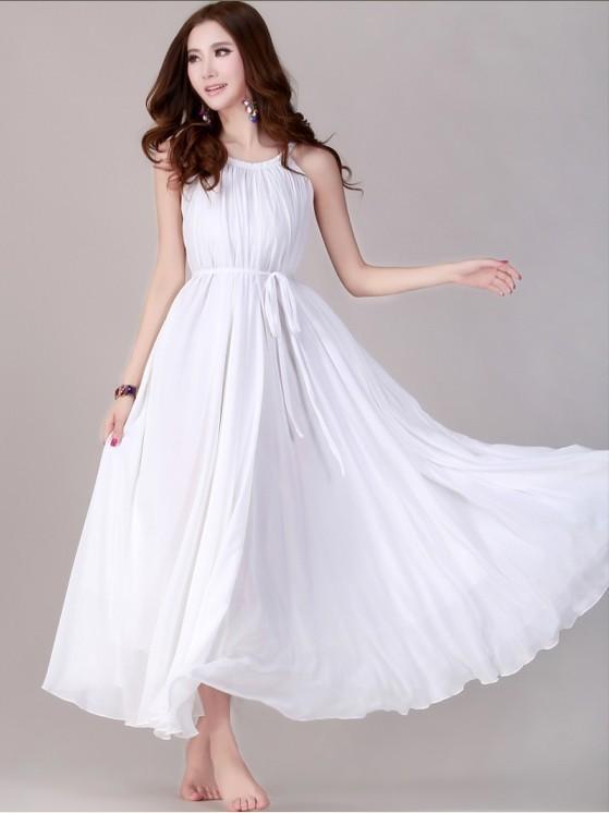 Bridesmaids White Dress White Flowy Maxi Dresses For Women One .